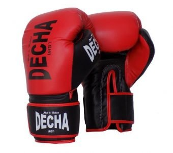DECHA MUAY THAI STYLE BOXING GLOVES MICROFIBER TIGHT FIT DBGVM2 RED BLACK
