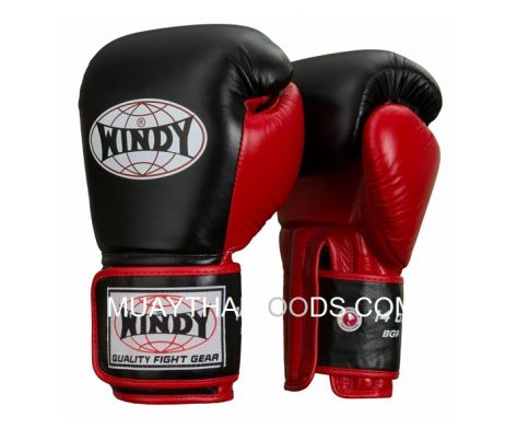 WINDY MUAY THAI STYLE BOXING GLOVES GBP BLACK RED GENUINE LEATHER MADE IN THAILAND