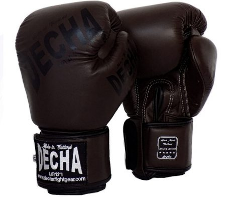 DECHA BROWN PRO SPARRING MUAY THAI BOXING GLOVES GENUINE LEATHER DBGVL4