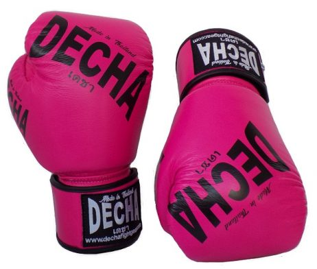 DECHA FLUO PINK PRO SPARRING MUAY THAI BOXING GLOVES GENUINE LEATHER DBGVL4