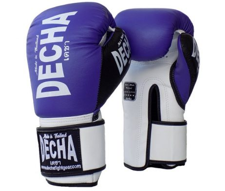 DECHA LEATHER 4 LAYERS MUAY THAI BOXING GLOVES PURPLE WHITE BLACK TIGHT FIT DBGVL1 PRO PERFORMANCE