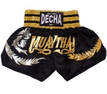 DECHA MUAY THAI STYLE BOXING SHORTS K1 MTSD11 SATIN DRAGON BLACK