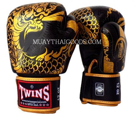 MUAY THAI GLOVES FBGV52 TWINS SPECIAL BOXING GLOVES DRAGON BLACK GOLD