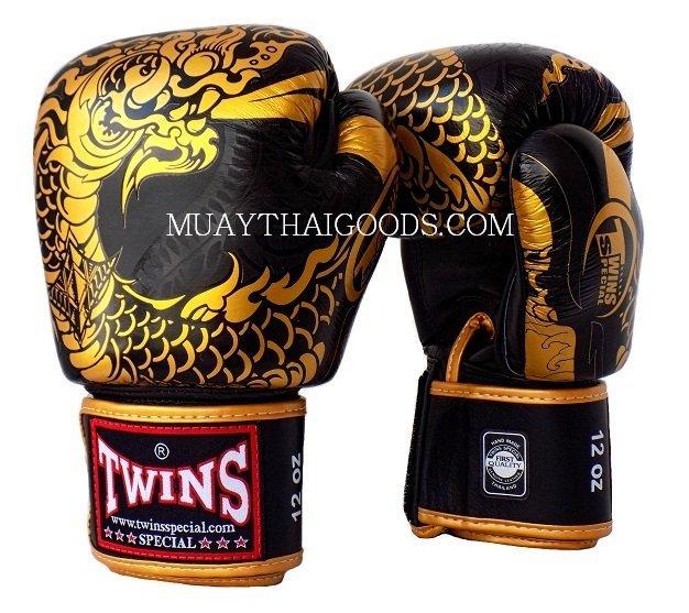 Shiv Naresh Teens Boxing Gloves 12oz: FBGV52 TWINS SPECIAL BOXING GLOVES DRAGON BLACK GOLD