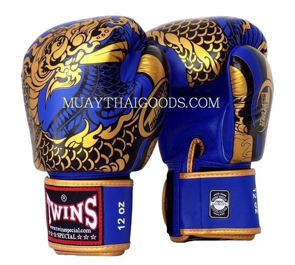 Shiv Naresh Teens Boxing Gloves 12oz: FBGV52 TWINS SPECIAL BOXING GLOVES DRAGON BLUE GOLD