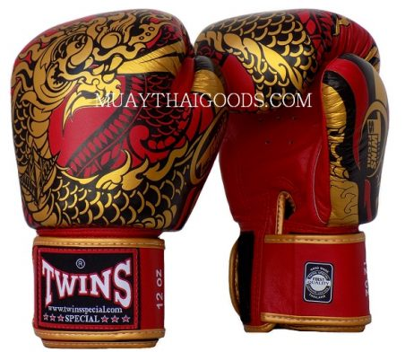 FBGV52 TWINS SPECIAL BOXING GLOVES DRAGON RED GOLD