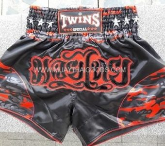 TWINS SPECIAL MUAY THAI ARMY STYLE BOXING SHORTS BLACK RED