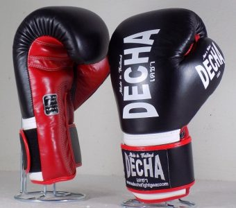 DECHA LEATHER 4 LAYERS MUAY THAI BOXING GLOVES BLACK RED WHITE TIGHT