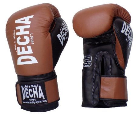 DECHA LEATHER 4 LAYERS MUAY THAI BOXING GLOVES BROWN_InPixio
