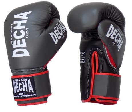 DECHA LEATHER 4 LAYERS MUAY THAI BOXING GLOVES GRAY BLACK RED TIGHT FIT DBGVL1 PRO PERFORMANCE