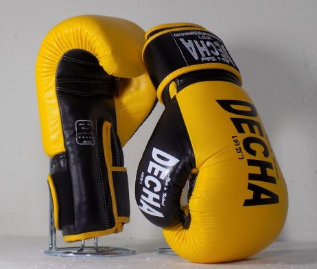 DECHA LEATHER 4 LAYERS MUAY THAI BOXING GLOVES YELLOW BLACK TIGHT FIT DBGVL1 PRO PERFORMANCE