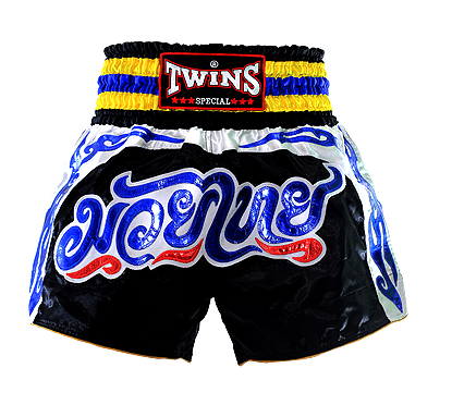 TWINS SHORTS MUAY THAI NTBS 004 BLACK WHITE