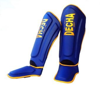 DECHA BLUE MUAY THAI SHIN GUARDS DSG1 DOUBLE PADDED SIDE REINFORCEMENT FULL PROTECTION