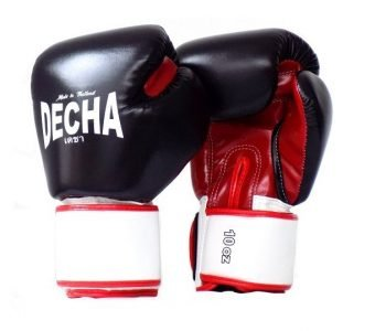 DECHA BOXING GLOVES SYNTEX LEATHER SIMPLE FIT DBGVS4 BLACKRED WHITE