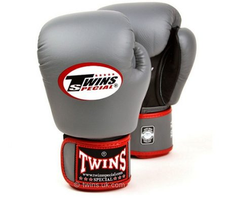 MUAY THAI KICK BOXING GLOVES BY TWINS SPECIAL GREY BLACK AIRFLOW BGVLA2