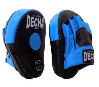 DECHA GENUINE LEATHER MUAY THAI BOXING STYLE FOCUS MITTS BLACK BLUE DFML1