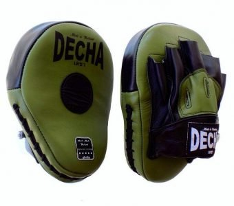 DECHA GENUINE LEATHER MUAY THAI BOXING STYLE FOCUS MITTS GREEN ARMY BLACK DFML1