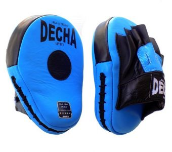 DECHA FAIRTEX TWINS GENUINE LEATHER MUAY THAI BOXING STYLE FOCUS MITTS LIGHT BLUE BLACK DFML1