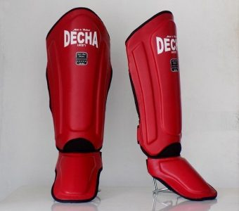DECHA LEATHER MUAY THAI SHIN GUARDS DSGL1 DOUBLE PADDED SIDE REINFORCEMENT FULL PROTECTION