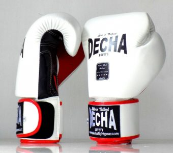 DECHA MUAY THAI STYLE BOXING GLOVES DBGVL2 LEATHER WHBKRD