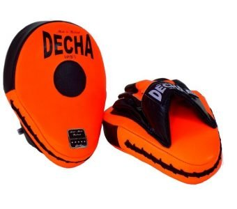 DECHA GENUINE LEATHER MUAY THAI BOXING STYLE FOCUS MITTS ORANGE FLUO BLACK DFML1