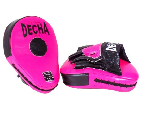 DECHA GENUINE LEATHER MUAY THAI BOXING STYLE FOCUS MITTS PINK FLUO BLACK DFML1