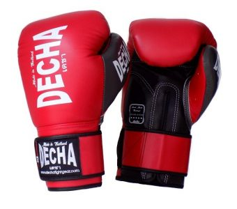 DECHA LEATHER 4 LAYERS MUAY THAI BOXING GLOVES RED BLACK TIGHT FIT DBGVL1 PRO PERFORMANCE 2.0