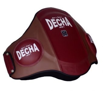 DECHA MUAY THAI LEATHER BELLY PADS PRO PERFORMANCE EXTRA PADDED 42 cm Height Thick 9 cm BURGUNDYBROWN