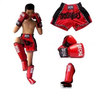 DECHA KIT MUAY THAI BOXING KIDS, SHIN GUARDS, SHORTS, GLOVES