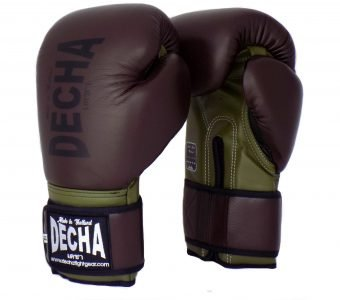 DECHA LEATHER 4 LAYERS MUAY THAI BOXING GLOVES RED BLACK TIGHT FIT DBGVL1 PRO PERFORMANCE 2.0 VINTAGE