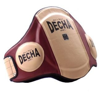 DECHA MUAY THAI LEATHER BELLY PADS PRO PERFORMANCE EXTRA PADDED 42 cm Height Thick 9 cm CREAM BURGUNDY