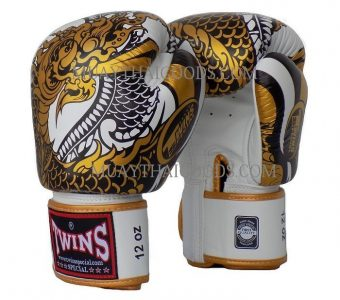 FBGV52 TWINS SPECIAL BOXING GLOVES DRAGON WHITE GOLD