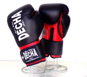 DECHA LEATHER MUAY THAI BOXING GLOVES DARK BLACK RED TIGHT FIT DBGVL1 PRO PERFORMANCE 2.0