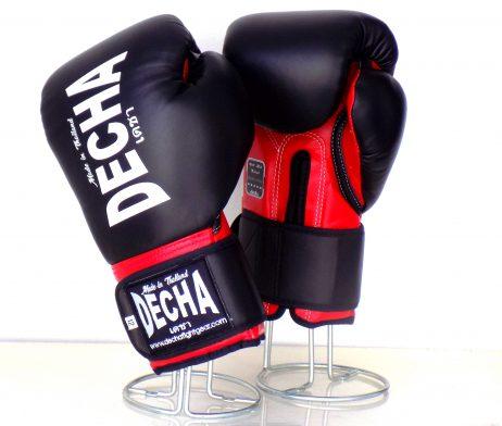 DECHA LEATHER MUAY THAI BOXING GLOVES DARK BLACK RED TIGHT FIT DBGVL1 PRO PERFORMANCE 2.0