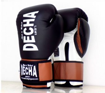 DECHA LEATHER 4 LAYERS MUAY THAI BOXING GLOVES BLACKWHITEBROWN TIGHT FIT DBGVL1 PRO PERFORMANCE 2.0