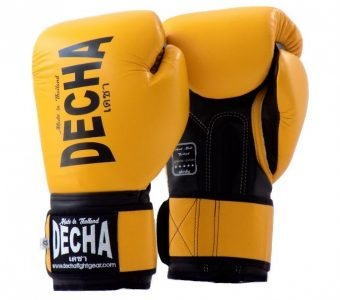 DECHA LEATHER 4 LAYERS MUAY THAI BOXING GLOVES YELLOWBLACK TIGHT FIT DBGVL1
