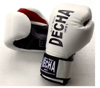 DECHA LEATHER MUAY THAI BOXING GLOVES DARK WHITE BLACK TIGHT FIT DBGVL1 PRO PERFORMANCE 2.0