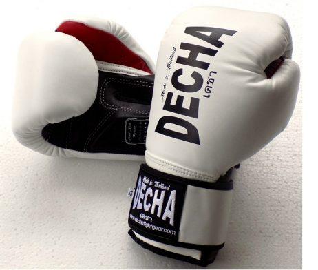 DECHA LEATHER MUAY THAI BOXING GLOVES DARK WHITE BLACK TIGHT FIT DBGVL1 PRO PERFORMANCE 2.0