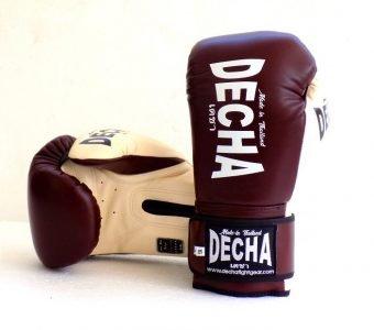 DECHA LEATHER MUAY THAI BOXING GLOVES TIGHT FIT DBGVL1 PRO PERFORMANCE 3.0 VINTAGE STYLE BURGUNDY CREAM