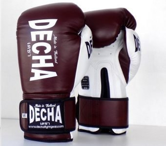 DECHA LEATHER MUAY THAI BOXING GLOVES TIGHT FIT DBGVL1 PRO PERFORMANCE 3.0 VINTAGE STYLE BURGUNDYWHITE