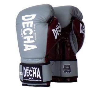DECHA LEATHER MUAY THAI BOXING GLOVES TIGHT FIT DBGVL1 PRO PERFORMANCE 3.0 GRAYBURGUNDY