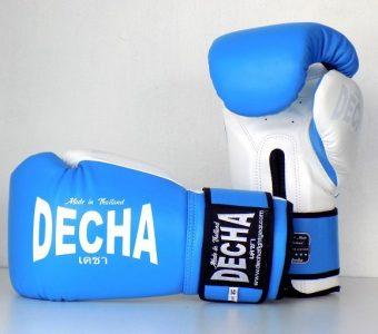 DECHA LEATHER MUAY THAI BOXING GLOVES TIGHT FIT DBGVL1 PRO PERFORMANCE 3.0 LIGHT BLUEWHITE