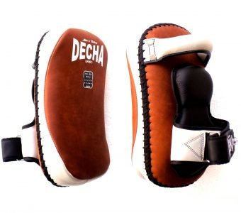 DECHA PROFESSIONAL SMALL KICKING PADS RAW LEATHER DKPL12 FOREARM ANTI-SHOCK BROWN WHITE