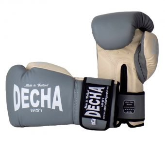 DECHA LEATHER MUAY THAI BOXING GLOVES TIGHT FIT DBGVL1 PRO PERFORMANCE 3.0 GRAYCREAM