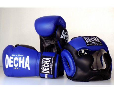 DECHA SET HEADGEAR AND BOXING GLOVES BLUE BLACK