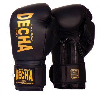 DECHA LEATHER MUAY THAI BOXING GLOVES TIGHT FIT DBGVL1 PRO PERFORMANCE 3.0 BLACK GOLD LOGO