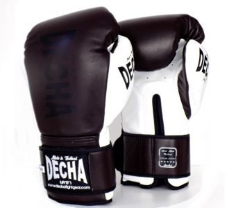 DECHA LEATHER MUAY THAI BOXING GLOVES TIGHT FIT DBGVL1 PRO PERFORMANCE 3.0 BROWNWHITE